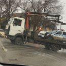 В Астрахани сняли на видео аварию с участием патруля ДПС