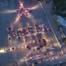 Астраханские автомобилисты выложили машинами поздравление с Днем Победы