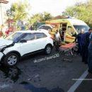 В Астрахани перевернулся автомобиль, столкнувшись с другой легковушкой