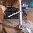 Ночью в Астрахани автомобиль «BMW» со всей скорости влетел в рекламный щит