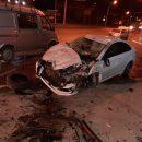 В Астрахани попало на видео ДТП с перевернувшейся машиной